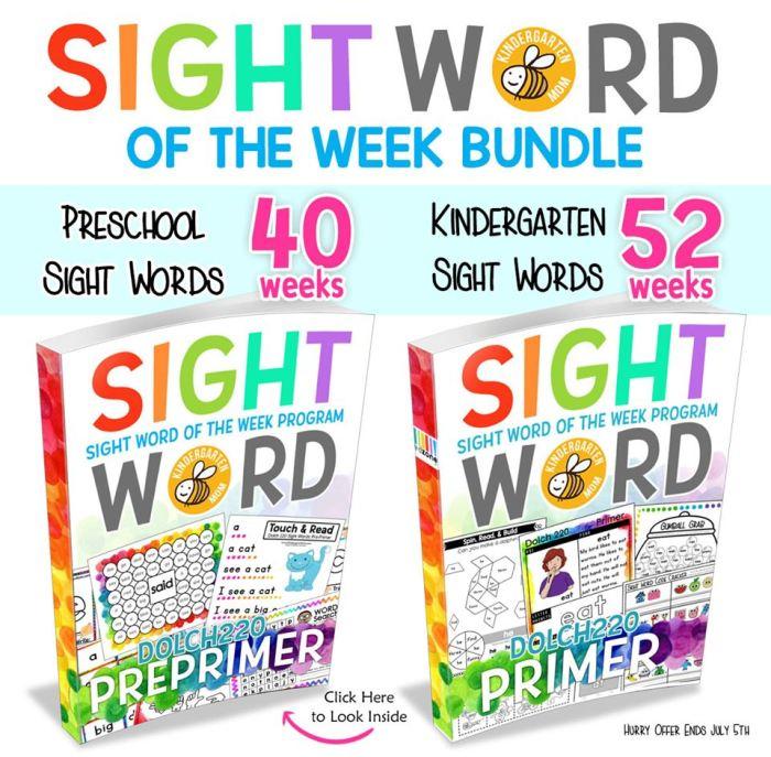 Sight Word of the Week set from Crafty Classroom will make your homeschool fun! #reading #kindergarten #preschool #homeschool