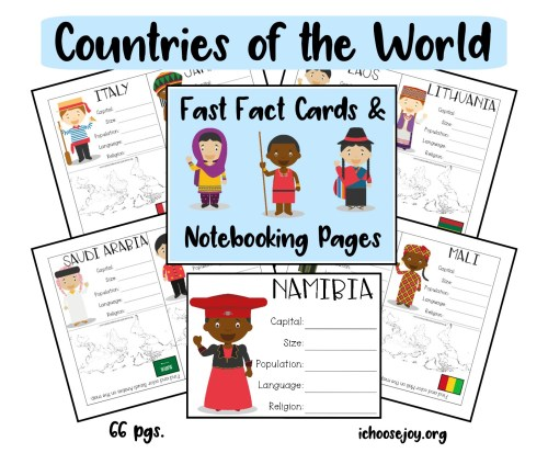 Countries of the World Fast Fact Cards and Notebooking Pages. 66-page set free for a limited time!