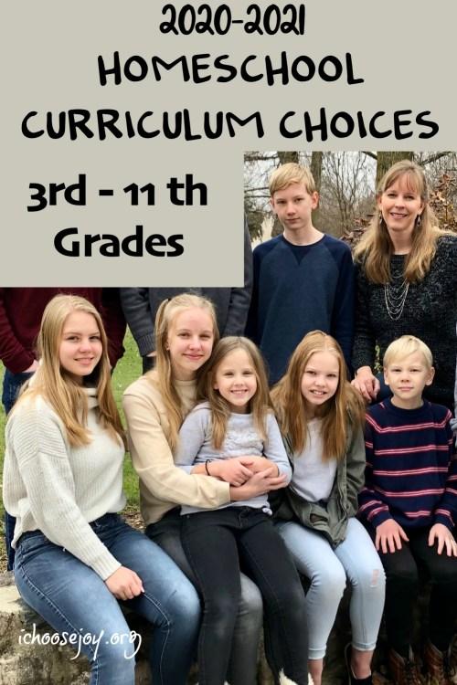 2020-2021 Homeschool Curriculum Choices 3rd - 11th Grades