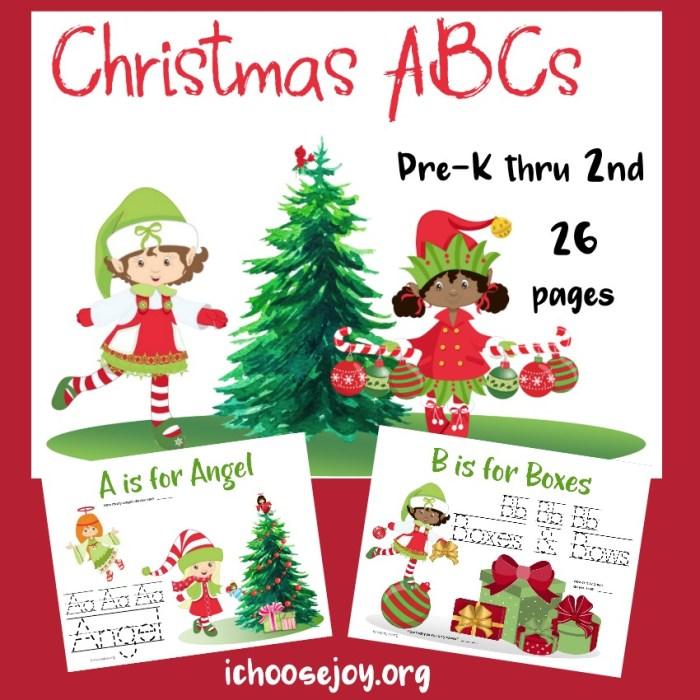 Christmas ABCs printable pack