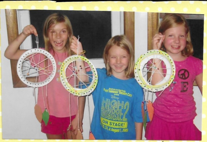 Making dream catchers while studying Kaya in American Girl Book Club.