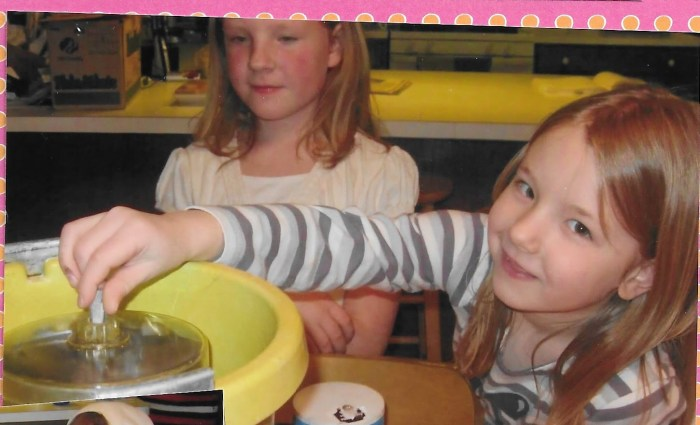 Making homemade ice cream while studying Samantha in American Girl Book Club.