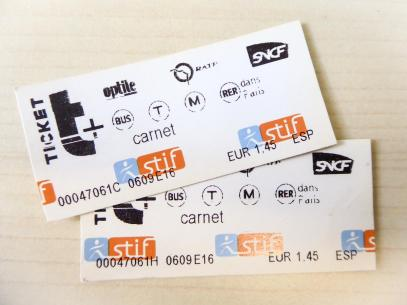 Paris Metro Ticket Einzelticket Carnet