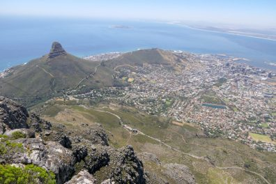 Südafrika Kapstadt Tafelberg Lion's Head Signal Hill Ausblick Stadt Meer