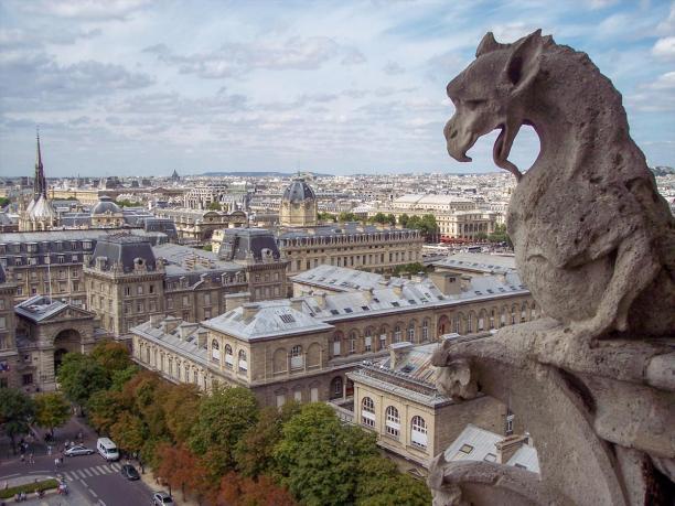 Frankreich Paris Notre Dame de Paris Kathedrale Glockenturm Turm Turmbesteigung Galerie Gargouille Gargoyle Wasserspeier Drache Ausblick