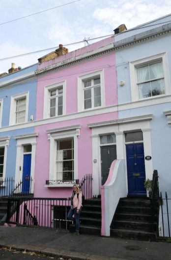 London England UK Notting Hill Häuser pastellfarben