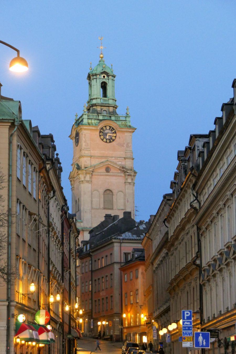 Stockholm Schweden Abend Gamla Stan Altstadt Storykerkan Alte Kirche