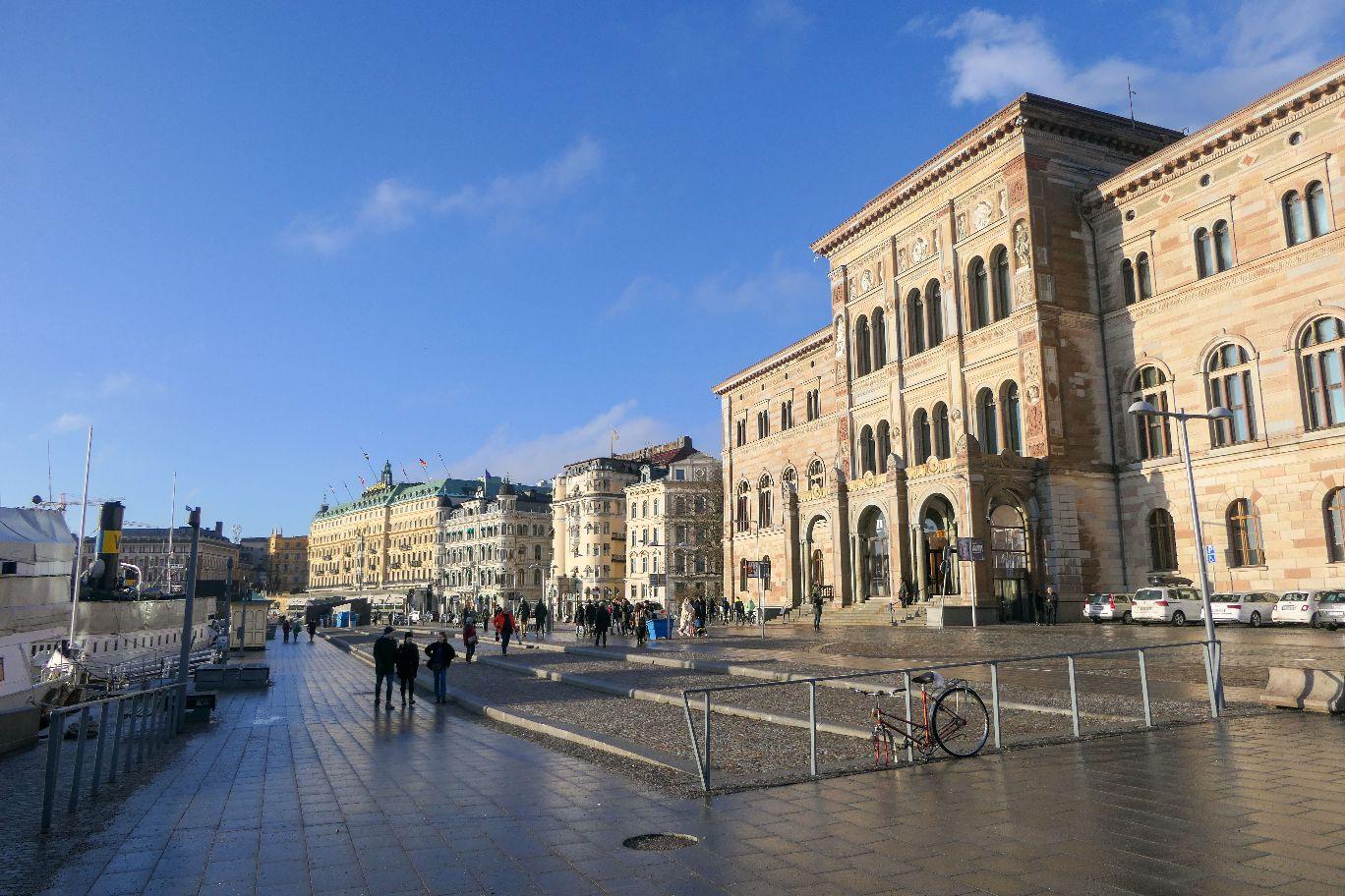 Stockholm Schweden Promenade Södra Blasieholmshamnen Nationalmuseum