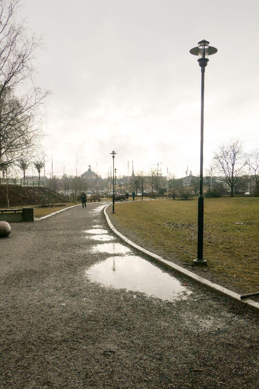 Stockholm Schweden Djurgarden Park Regen