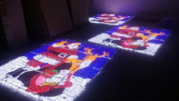 LED lighted 2D Acrylic Christmas Santa Claus