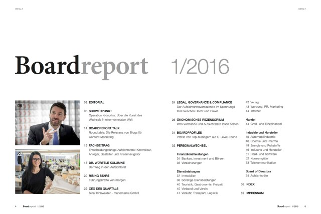 Themen der aktuellen Ausgabe von Boardreport