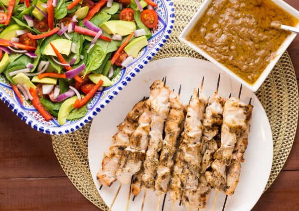 Chicken & Satay Skewers With Spinach & Avocado Salad