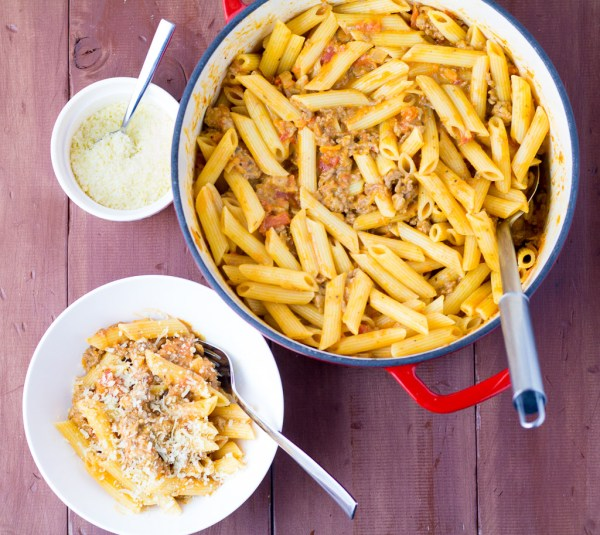 Creamy Sausage & Beef Penne Bolognese