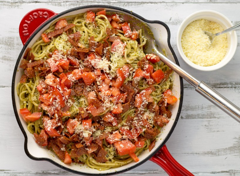 Pesto Spaghetti With Crispy Salami