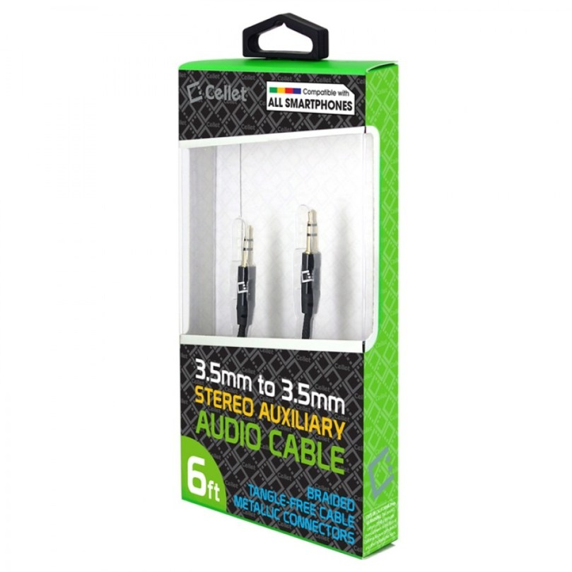 Cellet 3.5mm Anti-Tangle Braided Aux Audio Cable for Stereo Car Phones MP3 Black 6FT 6 Feet 1