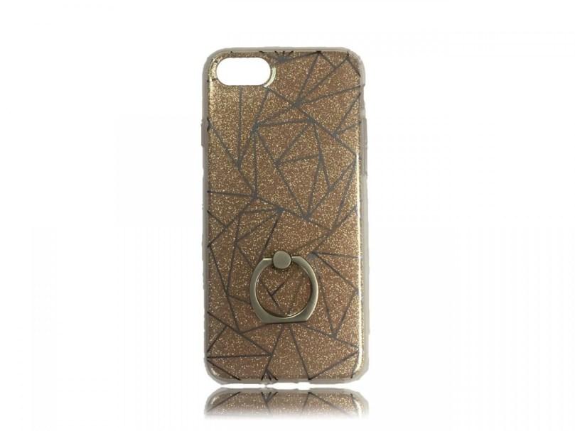 TPU Design Case W/ Ring Triangles - Gold - iPhone 8 / iPhone 7 1
