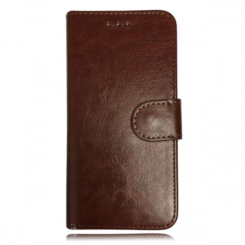 iPhone X/XS Leather Wallet Flip Case Brown 1