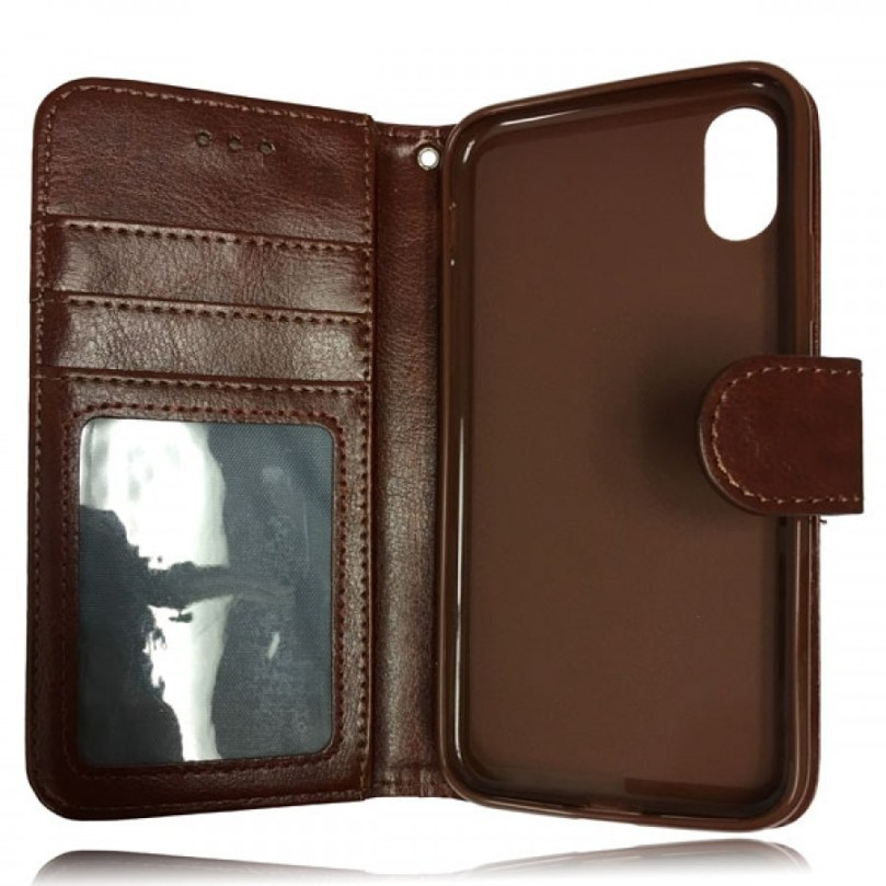 iPhone X/XS Leather Wallet Flip Case Brown 3