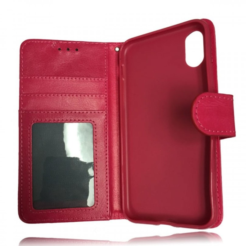 iPhone X/XS Leather Wallet Flip Case Red 3