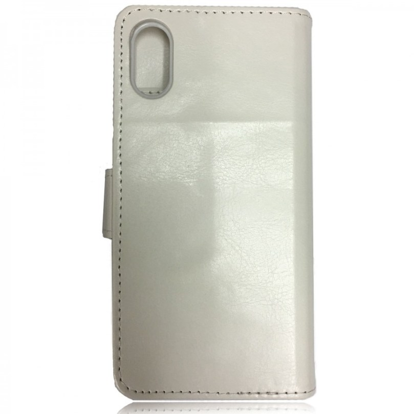 iPhone X/XS Leather Wallet Flip Case White 2