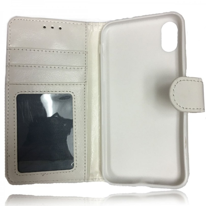 iPhone X/XS Leather Wallet Flip Case White 3
