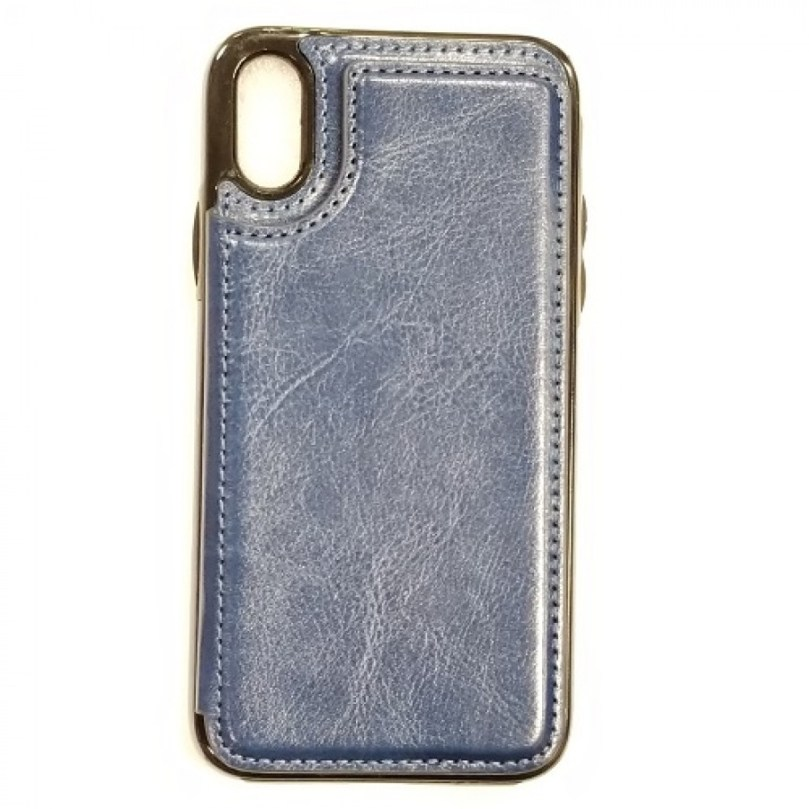 iPhone X/Xs PU Leather Wallet Card Holding Case BLUE 1