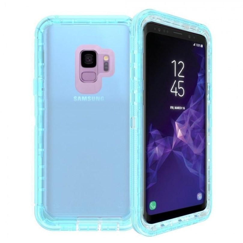 Samsung S9 Transparent Heavy Duty Case w/ Clip BLUE 1