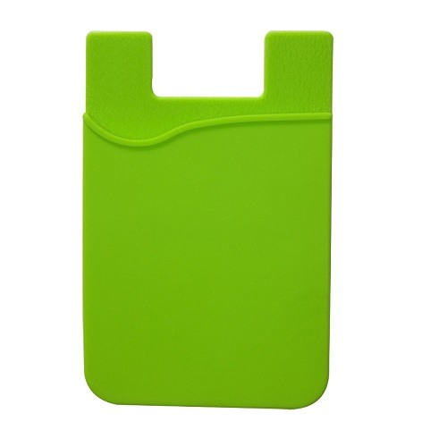 Stick-On Adhesive Silicone Cell Phone Card Holder Green 1