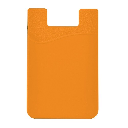 Stick-On Adhesive Silicone Cell Phone Card Holder Orange 1