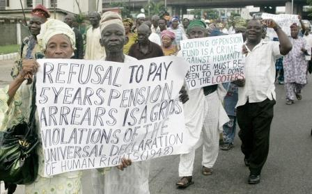 Suffering pensioners protesting