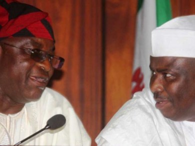 Former Senate President, David Mark and former Speaker of the House of Representatives, Aminu Tambuwal
