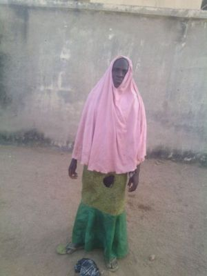 Male terrorist disguised as female in Hijab nabbed by    Nigerian troops as he made for market in Kwaya Kusar in Borno last  weekend   (3)