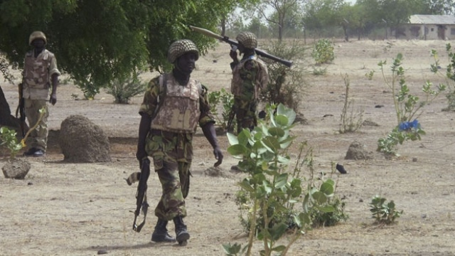 Nigerian soldiers in a North east village