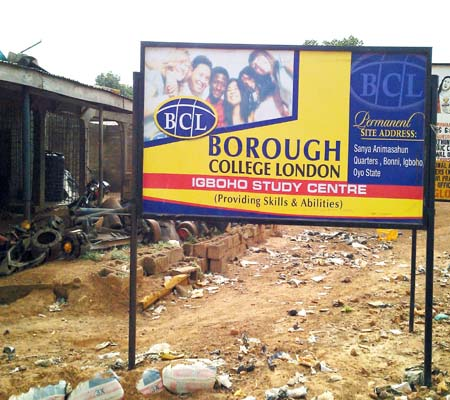 The site of the Borough College London, Igboho, Oyo State