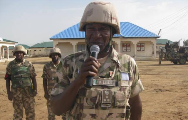 Brigadier General Victor Ezugwu addresses troops at Pulka, Borno State