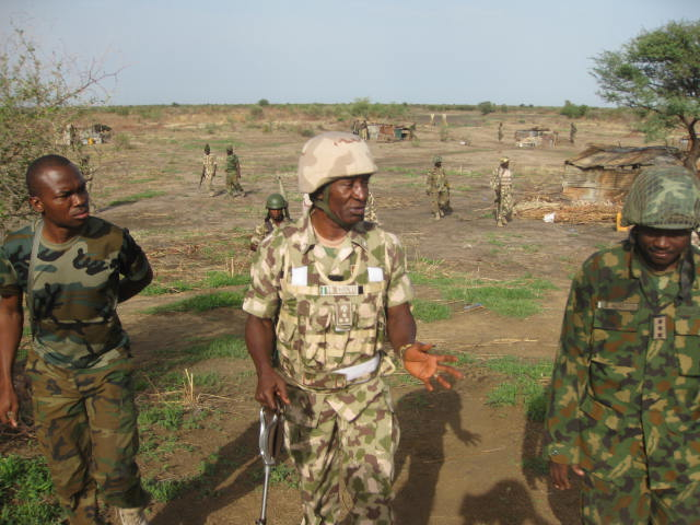 The GOC visited soldiers deployed at Banki Junction, a key part in cutting supplies to the insurgents