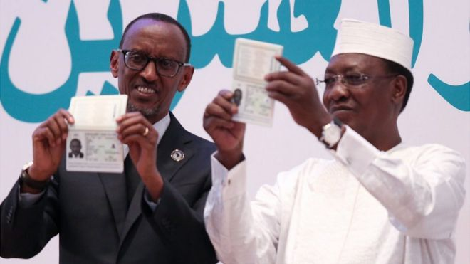 Rwandan president Paul Kagame and Chad President Idriss Deby received the first two African Union passports