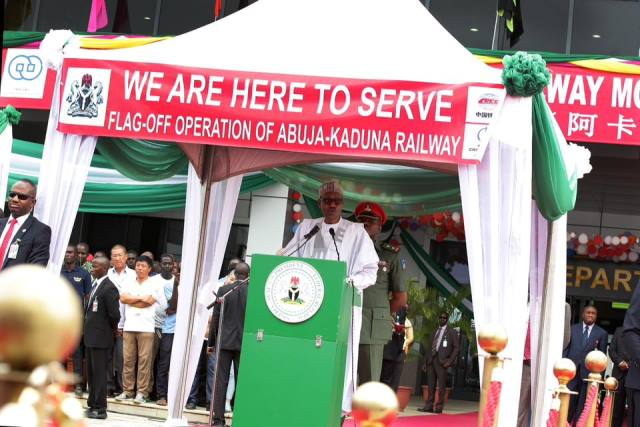 President Buhari At The Commissioning of the Rail line