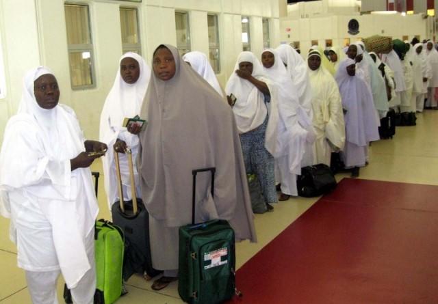 File: Intending Hajj pilgrims awaiting airlift