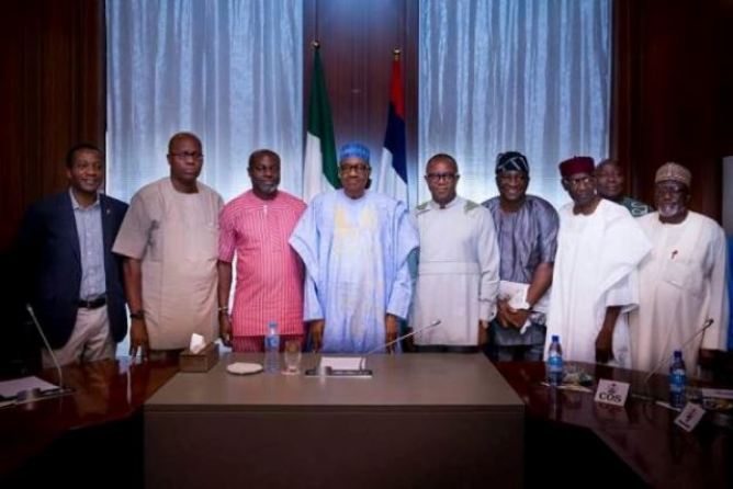 File: President Buhari meets with leaders of NUPENG, PENGASSAN