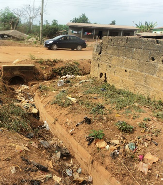 Narrow and blocked drainage at Igbara Odo