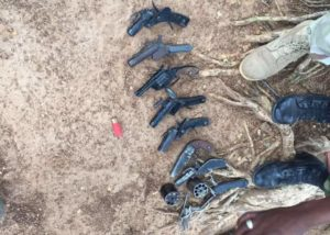 Locally made pistols recovered by the Military