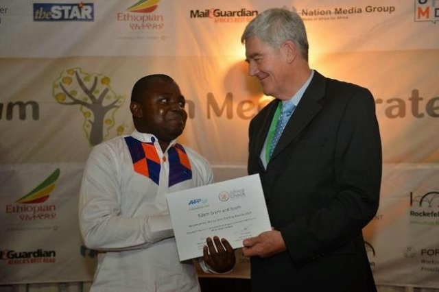 Ghanaian Video Journalist, Edem Srem, won the maiden edition of the African Fact-Checking Awards