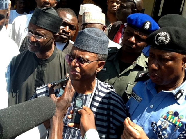 Kaduna State Governor, Nasir El-Rufai fielding questions from journalists