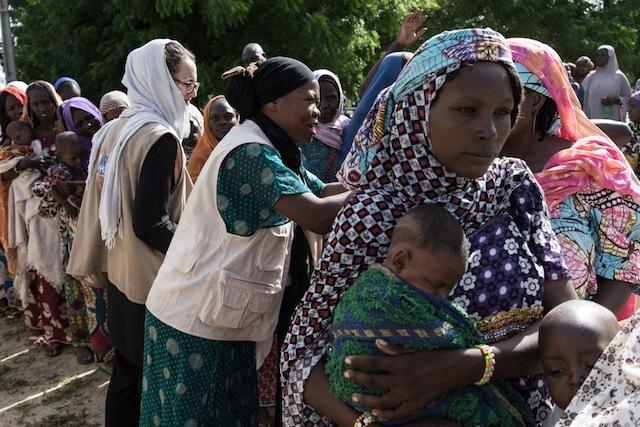 Displaced women in Maiduguri receiving care