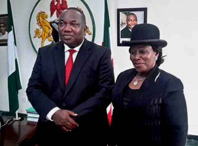 File: Enugu State Governor, Ifeanyi Ugwuanyi poses with Justice Emeholu on her appointment as acting Chief Judge of Enugu State