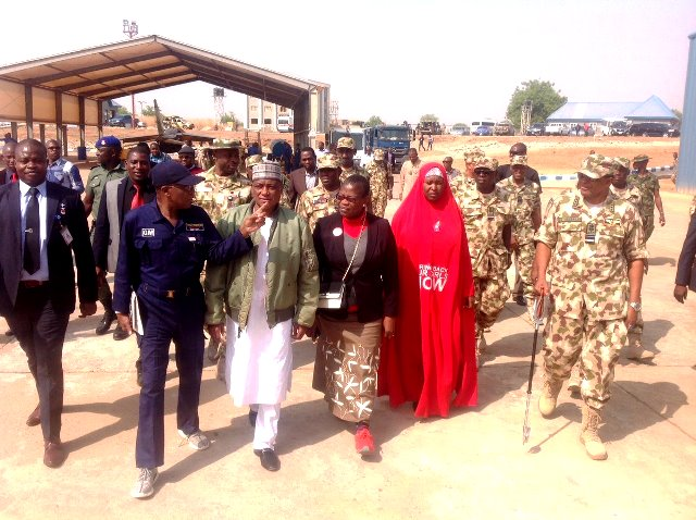 Min. of Information and Culture, Lai Mohammed; Minister for Defence, Mansour Dan-Ali; Co-Convener of the BBOG, Oby Ezekwesili; Member of the BBOG, Aisha Yesufu and the Chief of Air Staff, Sadique Abubakar, during the tour of Sambisa Forest