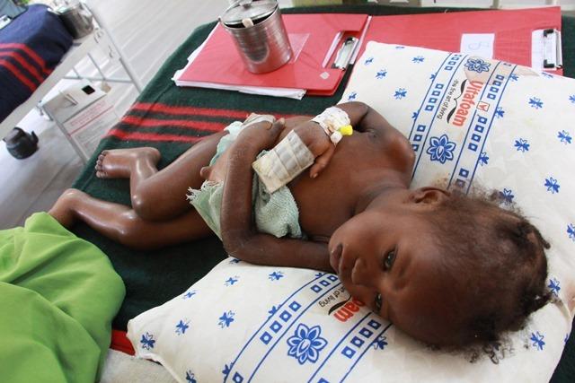 Two and a half year old Safiya, recuperating