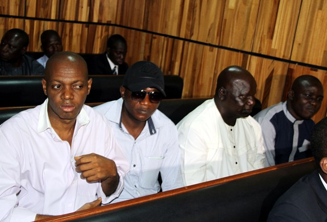 But Baba Emmanuel (immediate left) and Ezekiel Acheneje (far right) were convicted, while the remaining three were discharged.