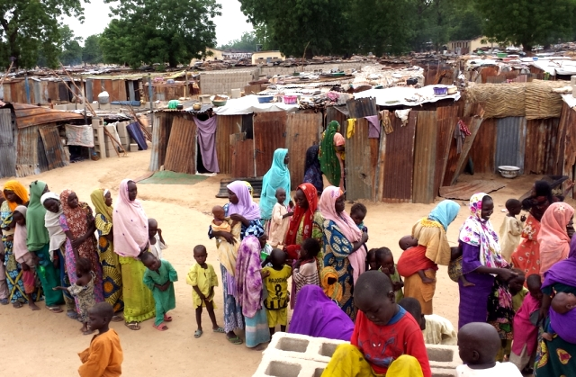 The displaced population in Bama camp is estimated between 10 000 to 12 000 people.